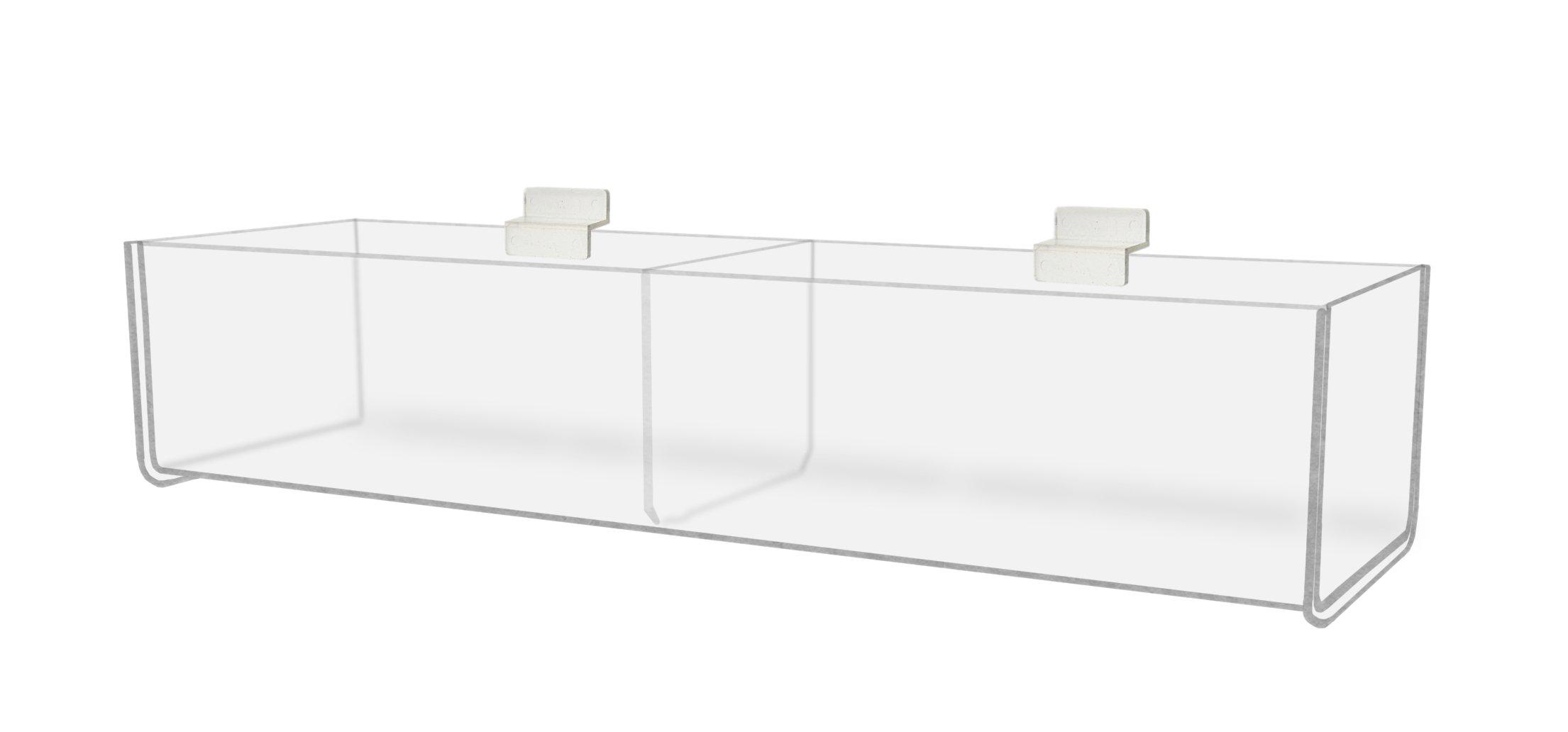 Marketing Holders Slatwall Bins Trays Organizer Display Racks Holders 16'' Bin 2 Pockets