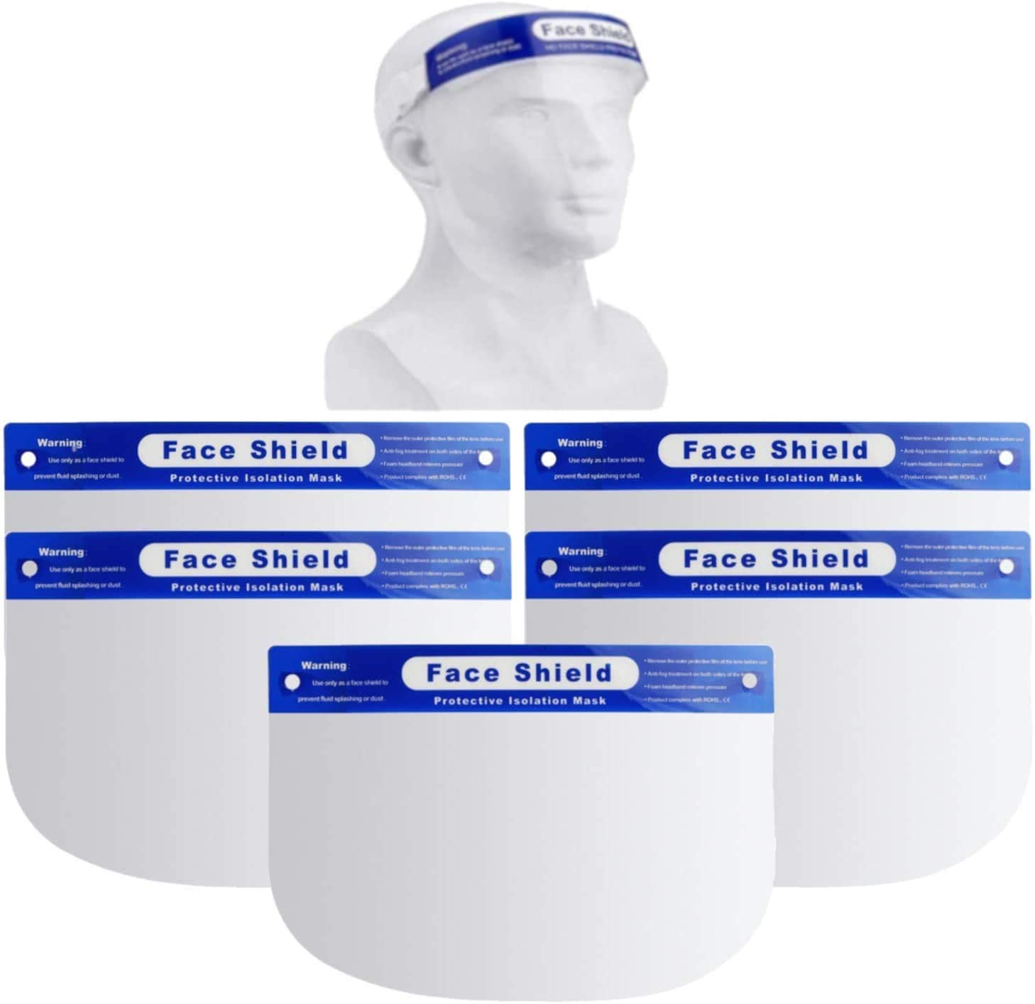 5 Value Pack Face Shields with Full Face Protective