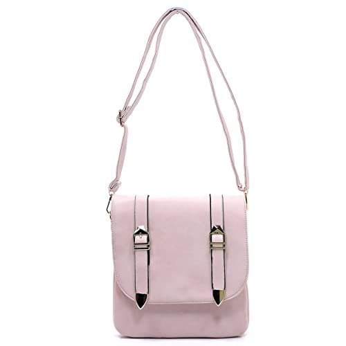 Faux leather three compartments medium cross body bags with buckle detail  flap (BLUSH) 9a3b451977
