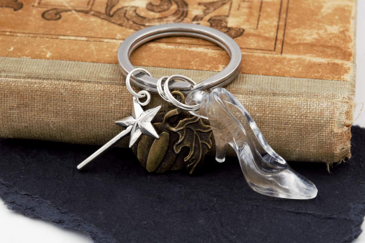Cinderella Glass Slipper Fairytale Keychain with Pumpkin /& Magic Wand Charms