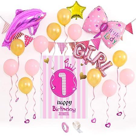 Decoración de Cumpleaños 1 año Globos Happy Birthday Bandera ...