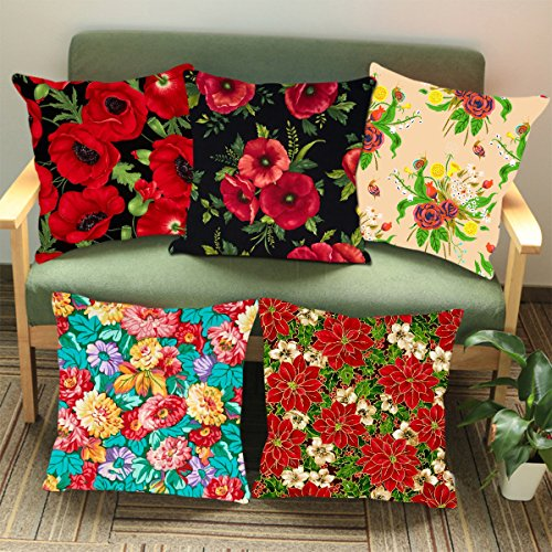 Aart Multi Flower printed Cushion Cover (Set of 5) 16*16