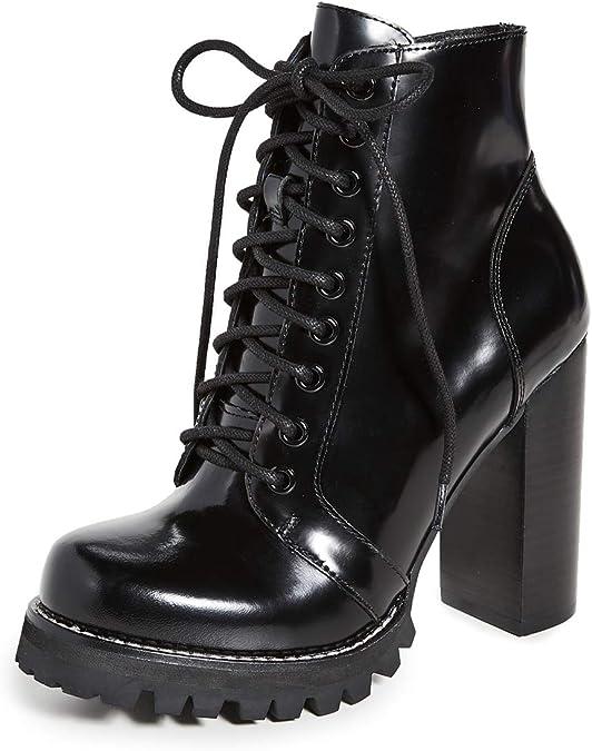 Black Lace Up High Heel Booties