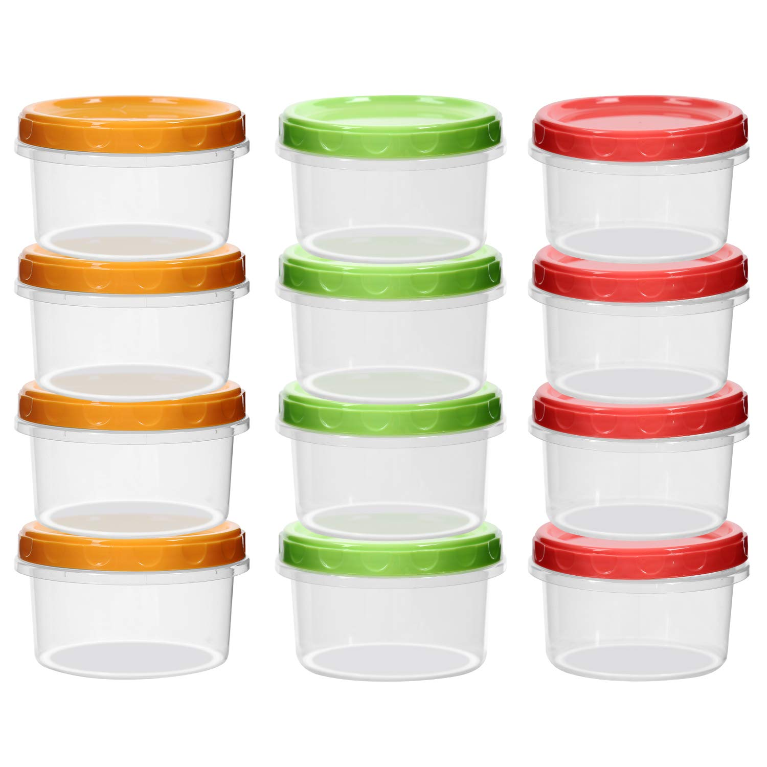 12-pack 8oz/250ml reuseable mini food fruit storage containers jars with screw lid |Sturd Plastic|BPA Free | Freezer & Dishwasher Safe|