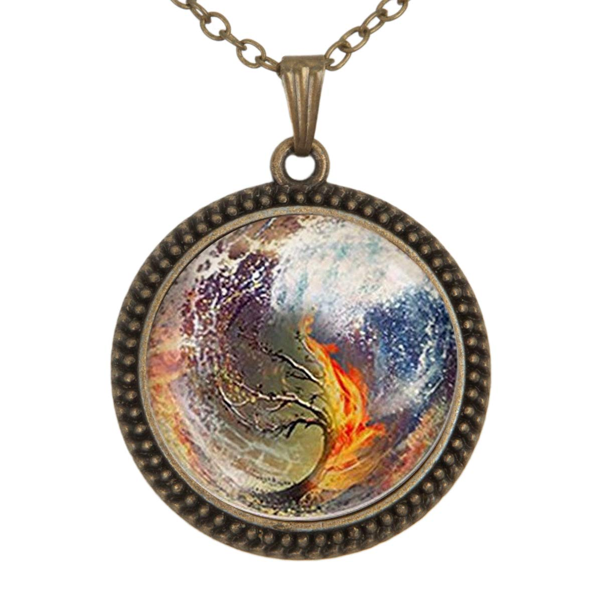 Family Decor Insurgent Sea Tsunami Pendant Necklace Cabochon Glass Vintage Bronze Chain Necklace Jewelry Handmade