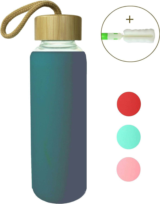 Wenburg Cantimplora Botella de Cristal con Tapa de bambú 350/500 ml, Cubierta de Silicona. Botella Deportiva/Botella de Agua de Vidrio. para Llevar. para té, Agua, Batidos