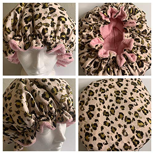 Flax Terry - Deep Conditioning Heat Cap - Microwavable CAP IS WASHABLE Made with 100% Natural Cotton, Terry Cloth Interior with Flaxseed Pouches For Maximum Heat Retention - Pink Gold Leopard Print
