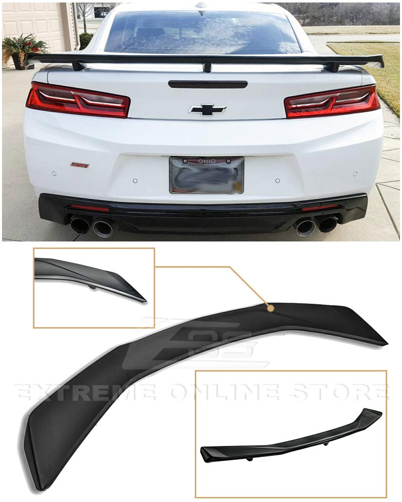 Extreme Online Store for 2016-Present Chevrolet Camaro All Models | ZL1 GM Factory Style ABS Plastic Primer Black Rear Trunk Lid Wing Spoiler