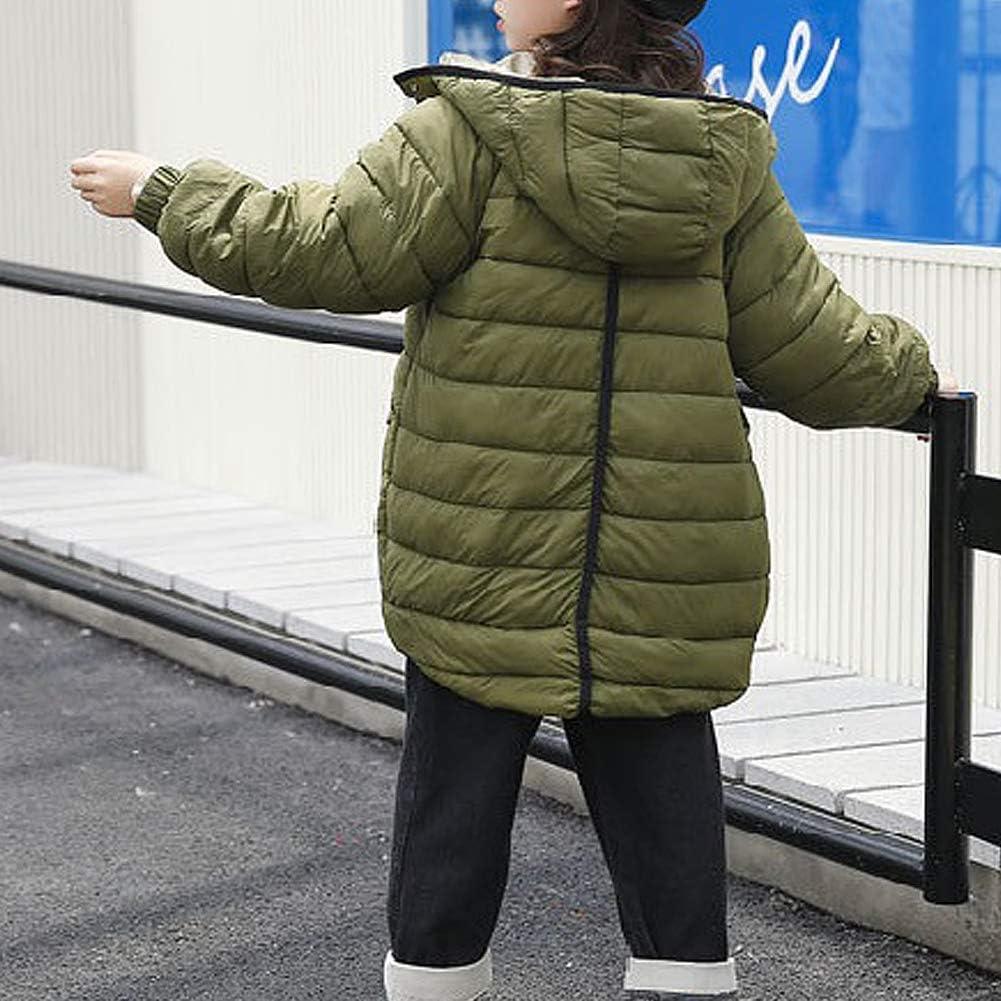 AMIYAN Junge M/ädchen Winter Mantel Dicke Warm Lang Winterjacke Steppmantel Rei/ßverschluss Kapuzenjacke Outfit 8-14 Jahre