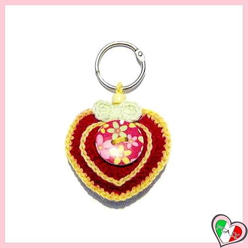 Llavero corazon rojo y amarillo de ganchillo - tamaño: 7 cm ...