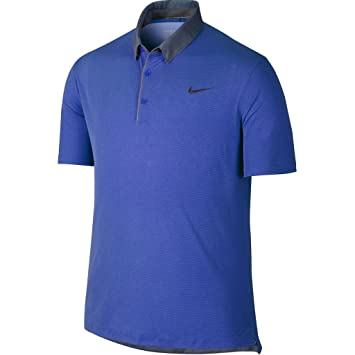 c354357a 2015 Nike Modern Transition Chambray Mens Golf Polo Shirt-LOGO CHEST Deep  Royal Blue Small