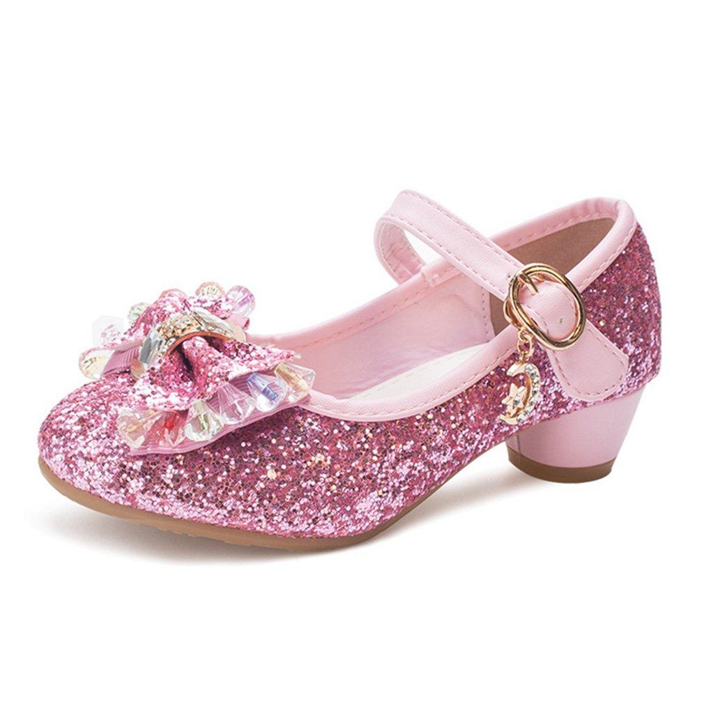 CYBLING Girls Glitter Princess Shoes Mary Jane Bowknot Low Heel Wedding Party Shoes (Toddler/Little Kid)
