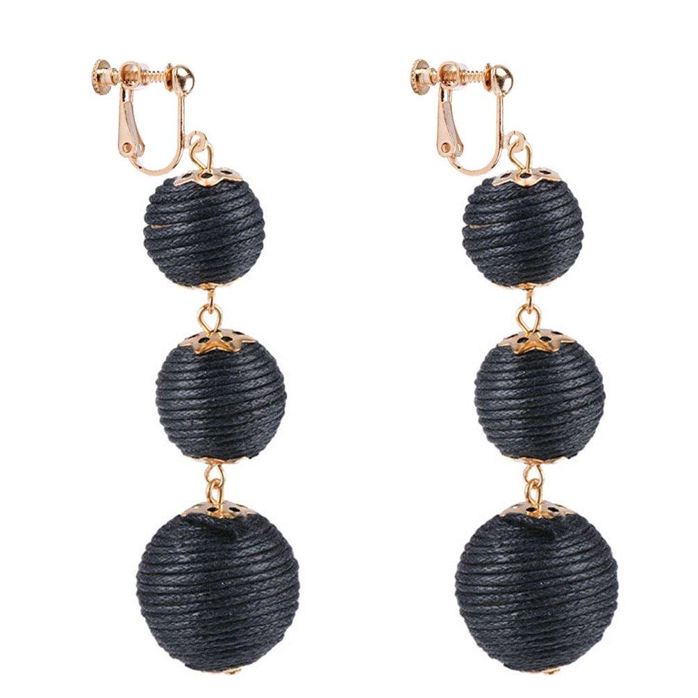 Dangle Earring Clip on Screw Back Converter Thread Ball Tassel Bohemia for Girl Kid Fashion Black