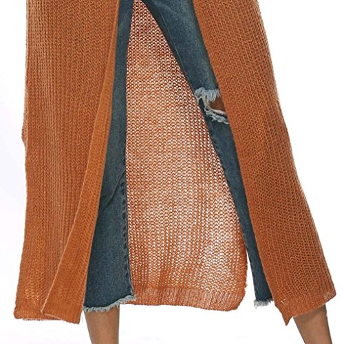 Capo Autunno 5 Kimono Lunga Aperte Signore Yvelands Colori Caffè Pura Formato Manica Colore Delle Di Crochet Giacca Più Camicetta Di Del Del Donne Maglia A Cappotto Cardigan Casuale qIxx7ESZ