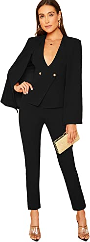 MAKEMECHIC Women's Solid 2 Piece Outfits Open Front Cape Blazer and Pants Sets Suit