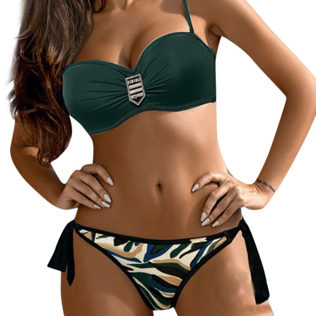Bikini Damen Push up LHWY Frauen Bikini Set Hohe Taille Zweiteiliger Badeanzug Bademode Beachwear Sommerkleid Gepolstert BH Gürtel Slips