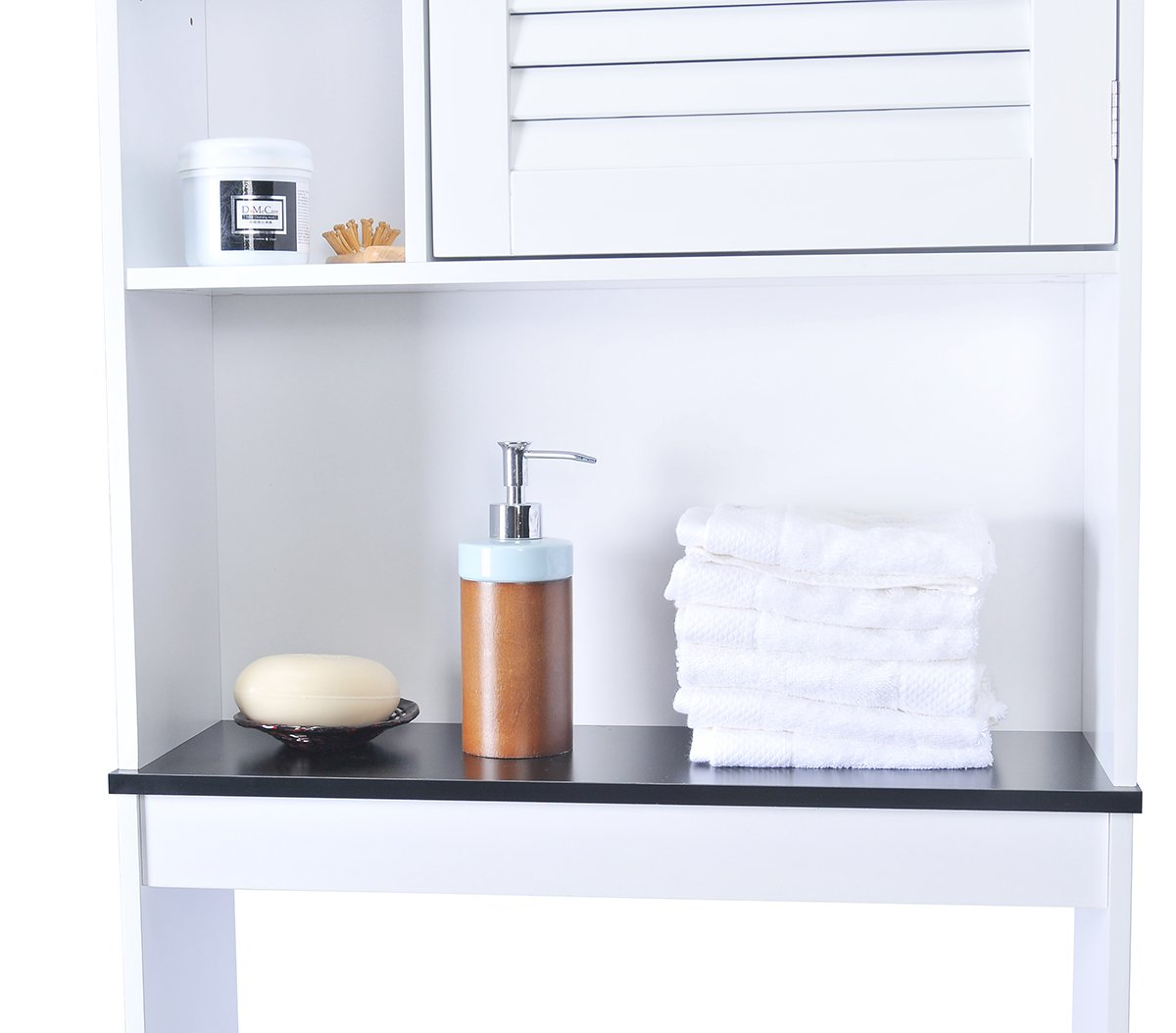 Spirich Home Bathroom Shelf over the toilet, Bathroom Cabinet Organizer over toilet with Louver Door, White Finish by Spirich Home (Image #3)