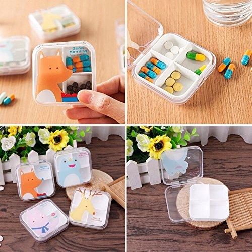 (yanQxIzbiu Premium Container, Cartoon Animal Printed 4/6 Slot Pill Box Storage Case Travel Vitamin Organizer - Random 6 Compartments )
