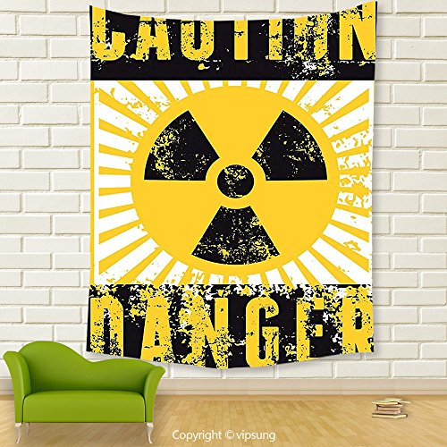 Vipsung House Decor Tapestry_Vintage Decor Sign With Caution And Danger Icon Atomic Nuclear Area Beware Toxic Artwork Yellow Black_Wall Hanging For Bedroom Living Room (Sign Of The Whale Halloween)