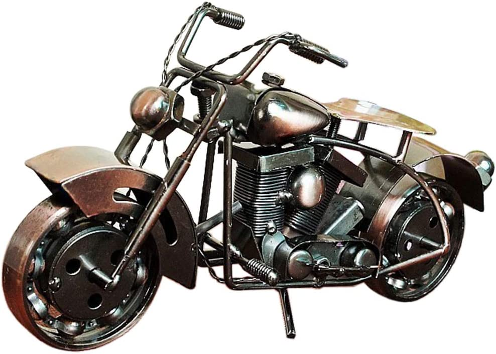 Amperer Collectible Art Sculpture Handmade Metal Motorcycle Tractor Model Creative Office Desktop Accessories Decor The Motorcycle Loves Artwork (A1 Copper Large Size)