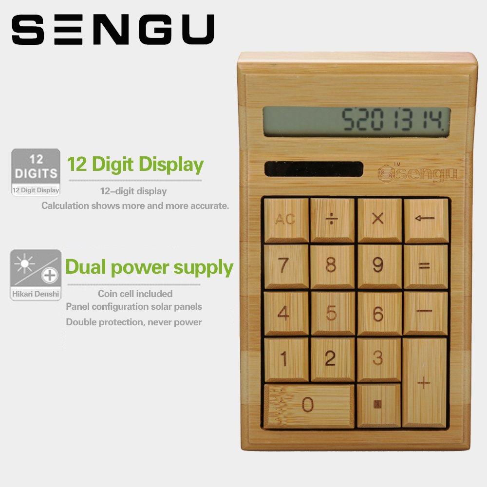 Amazon.com : Sengu Bamboo Wooden Solar Calculators Standard Function  Desktop Calculator With 12 Digit Large Display : Office Products