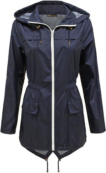 Ladies Plain Printed Showerproof Mac Parka Hooded Fishtail Raincoats Jackets