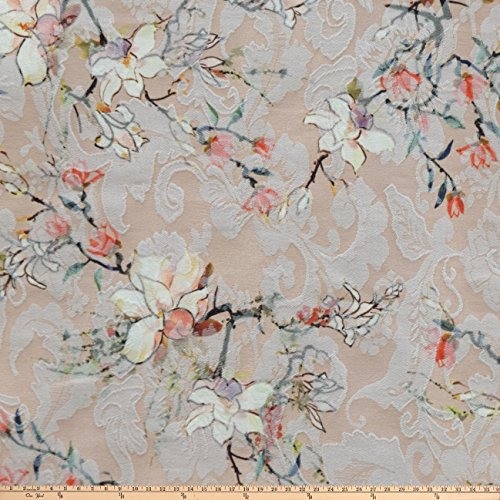 Romantic Peach - 225 West 37th Street Romantic Floral Printed Stretch Jacquard Floral Peach Fabric By The Yard