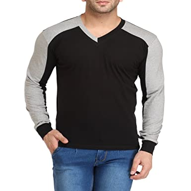Leana Grey Black V Neck Stylish Men's T Shirt: Amazon.in: Clothing ...