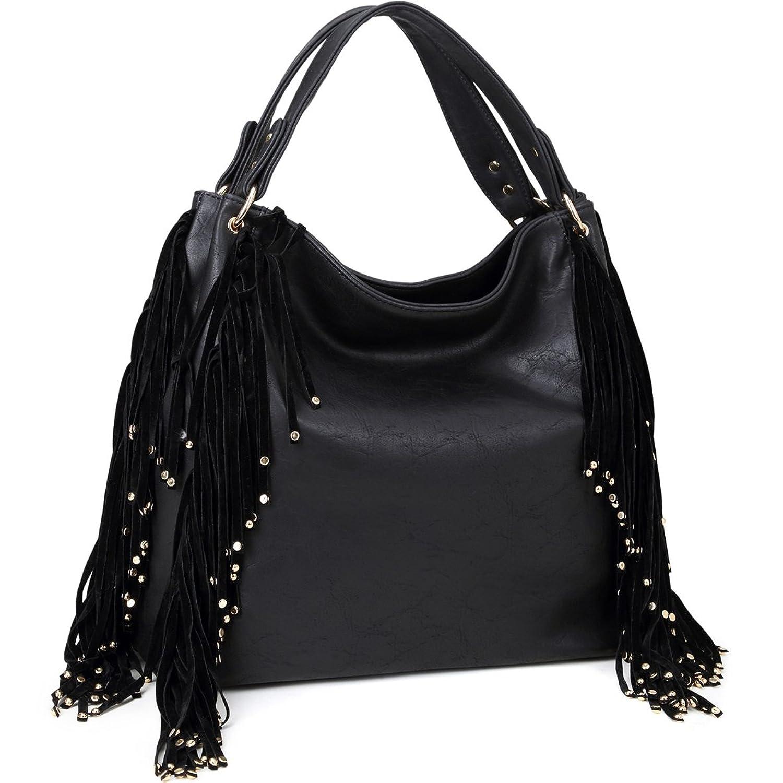 Dasein Studded Fringe Fashion Large Hobo Bag