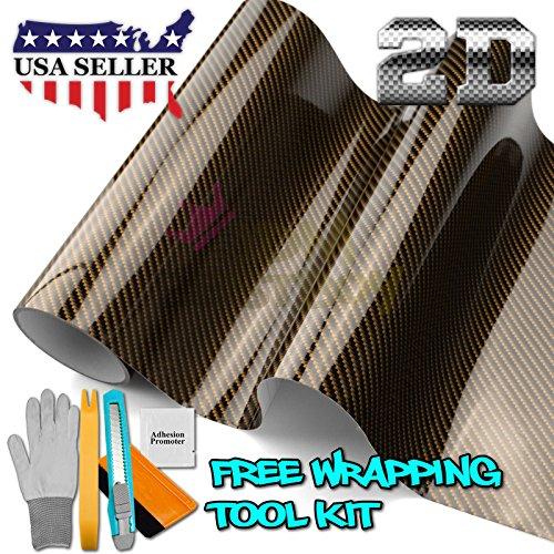 Free Tool Kit 2D High Gloss Glossy Premium Gold Carbon Fiber Vinyl Wrap Sticker Decal Film Sheet (Bubble Free) - 24