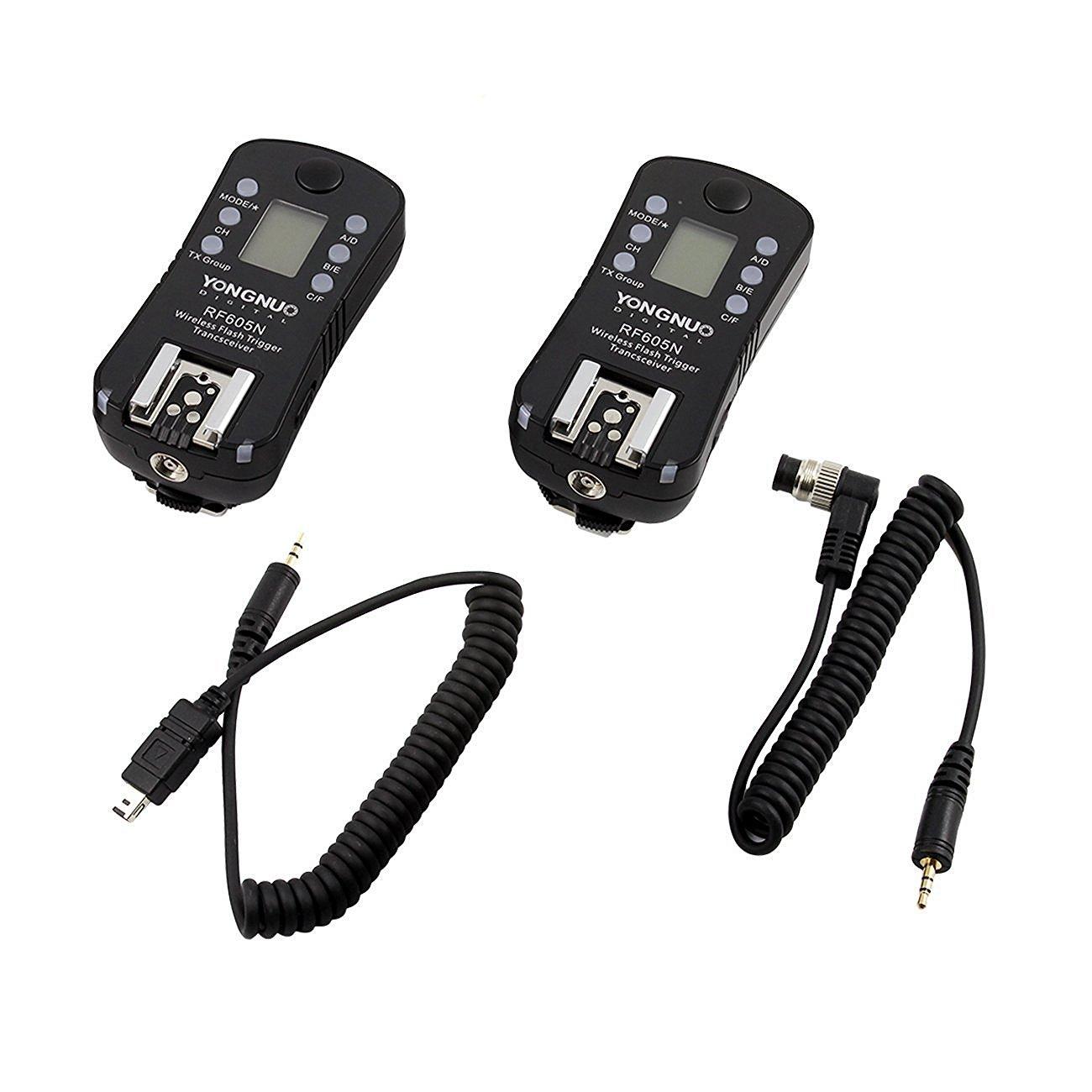 YONGNUO RF-605 N3 Flash Trigger/Wireless Remote Shutter Release Transceiver Kit for Nikon DSLR D750 D3100 D3200 D5300 D7200 D90 D5000 D7000 D7100 D5100 D600 by Yongnuo