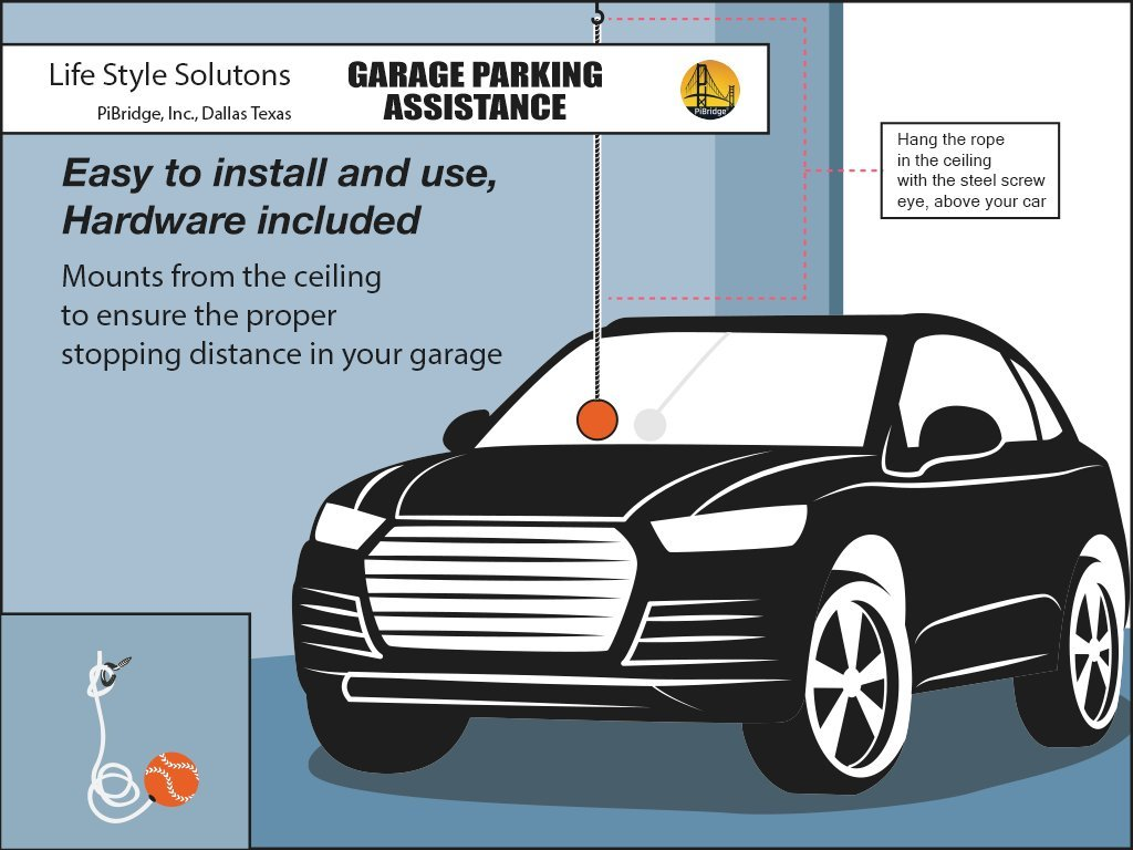 Orange Ball PiBridge Parking Ball for Garage Parking Aid Parking Assistance Solution Garage Stop Ball Parking Guide Ball Garage Parking Assist Perfect Garage Car Stopper for All Vehicles