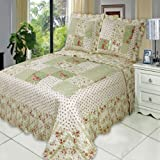 Upland California-King Size, Over-Sized Coverlet 7pc Bedding set, Luxury Microfiber Printed Quilt by Royal Hotel