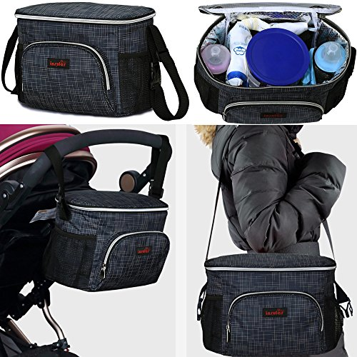 Waterproof Stroller Organizer Diaper Bag Hot Insulation Large Capacity Universal Fit with 2 Cup Holder