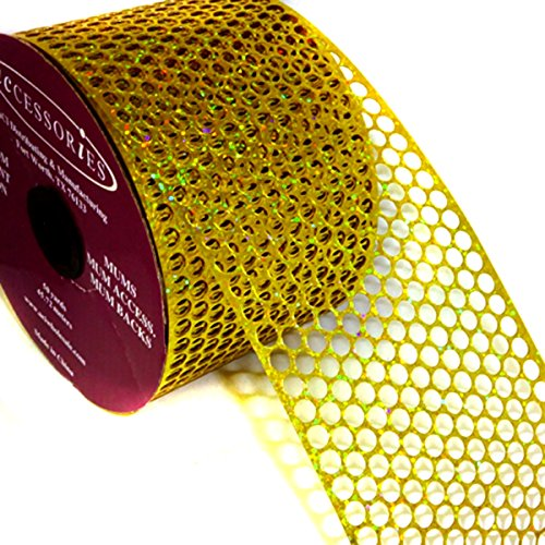 ACI PARTY AND SPIRIT ACCESSORIES Honeycomb/Punchinello Ribbon Holographic Gold