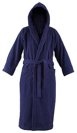 John Christian Luxury Collection - Terry Towelling Hooded Bathrobe - Navy  Blue  Amazon.co.uk  Clothing dfbbcea12