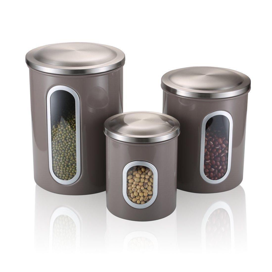 Food Storage Canisters Sets with Airtight Lid Leak Proof - SVVSS Moistureproof Anti-Fingerprint Stainless Steel Multi-Purpose Window Nested Kitchen Cereal ...  sc 1 st  eBay & Food Storage Canisters Sets with Airtight Lid Leak Proof - SVVSS ...