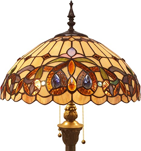 Tiffany Style Floor Standing Lamp W16H64 Inch Tall Stained Glass Serenity Victorian Lampshade 2E26 Antique Reading Light Resin Base S021 WERFACTORY Lamps Bedroom Living Room Bedside Table Lover Gift