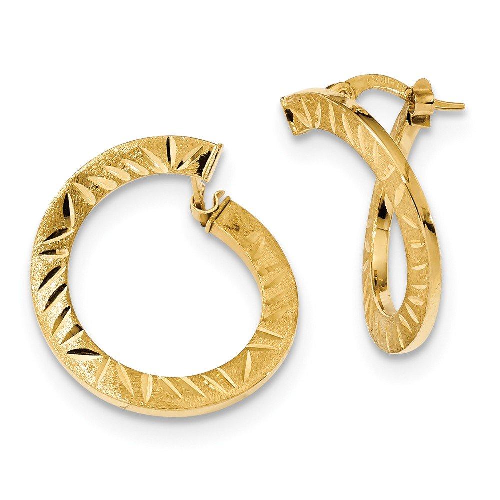 Mia Diamonds 14k Yellow Gold Satin Diamond-cut Twist Hoop Earrings