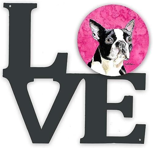 Caroline's Treasures Pink Boston Terrier Metal Artwork Love Wall-Decor