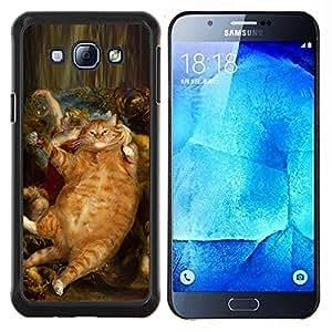 Rubens Baco Gato Jengibre Rojo Amarillo- Metal de aluminio y de plástico duro Caja del teléfono - Negro - Samsung Galaxy A8 / SM-A800