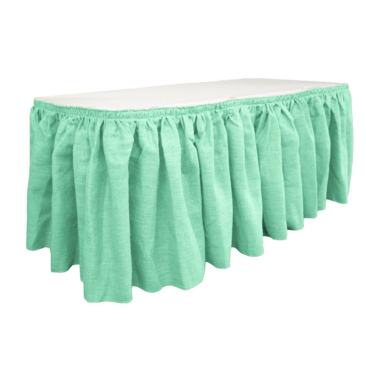 LA Linen SkirtBurlap17x29-10Lclips-Mint Burlap Table Skirt with 10 L-Clips44; Mint - 17 ft. x 29 in.