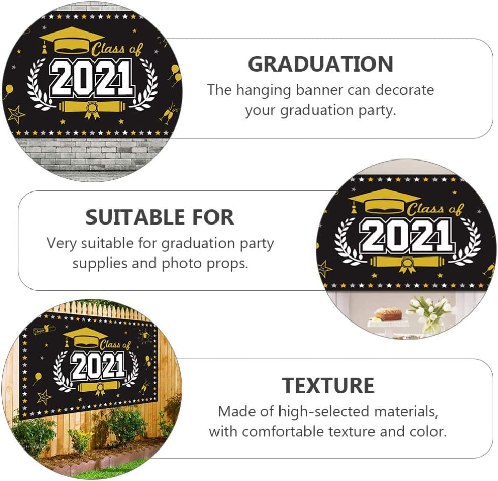 NUOBESTY Graduation Party Photography Backdrop 2021 Graduation Party Banner Class of 2021 Background Graduation Party Wall Sign Flag Decoration Photo Props Supplies