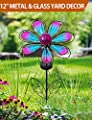 "BRIGHT ZEAL 12"" Large METAL & GLASS Solar Flowers Yard Art - Outdoor Garden Decorations LED Solar Garden Statue - Yard Decorations Solar Lights"