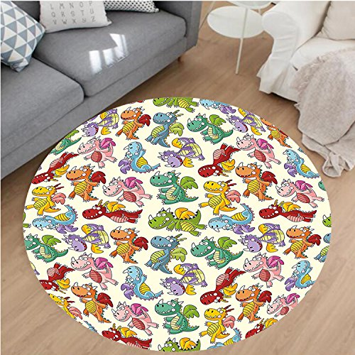 Nalahome Modern Flannel Microfiber Non-Slip Machine Washable Round Area Rug-by Loving Cute Dangerous Happy Dinasours in Rainbow Colored Nursery Kids Print Multicolor area rugs Home Decor-Round 51