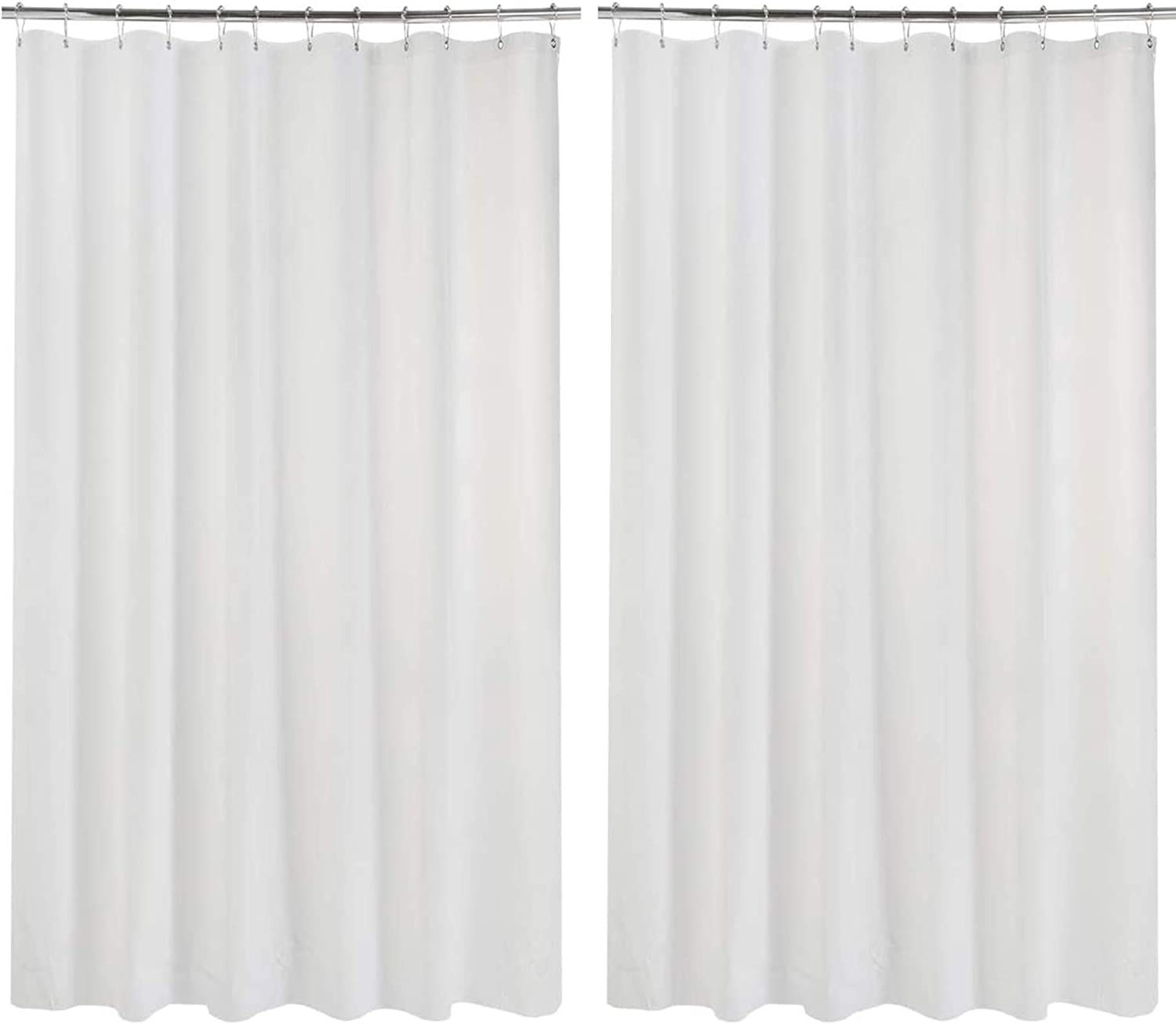 AmazerBath 2 Pack Thin Shower Curtain Liners, 72 x 84 Inches PEVA 3G Shower Curtains with Stones and 12 Grommet Holes, Waterproof Lightweight Plastic Liners- White