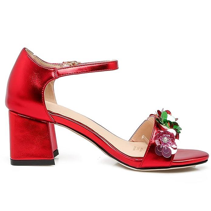 AIYOUMEI Damen Knöchelriemchen Sandalen mit 5cm Absatz und Blumen Blockabsatz High Heels Bequem Schuhe wSeQSM