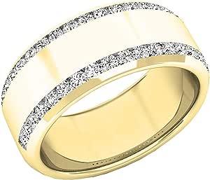 Anillo de boda de oro de 14 quilates con diamantes blancos redondos de 0,53 quilates