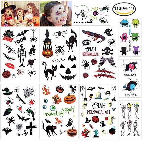 Konsait Halloween Temporary Tattoos Bulk Monster Pumpkin Tattoos Party Favor Accessory for Kids Children (113 Designs) (Halloween Pumpkin Tattoo Designs)