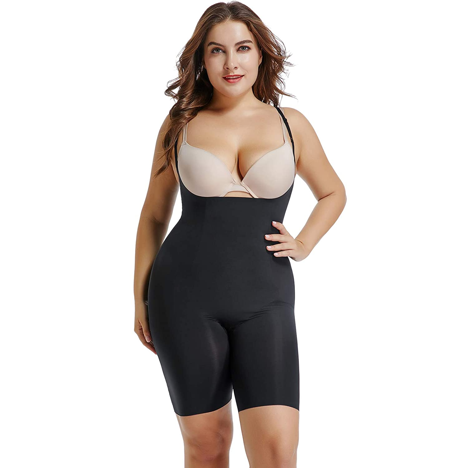 add499e15131b Joyshaper Mid Thigh Shapewear Bodysuit for Women Slimming Open Bust Tummy  Control Body Shaper Seamless Waist Trainer Wear Your Own Bra Underwear Anti  ...